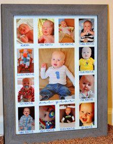 Muchos de uso toman fotos mensuales de nuestros bebés durante su primer año. Aquí es un lugar para guardar sus fotos en un marco! ¡ Perfecto para un regalo de la ducha de bebé! Vea cómo crece su bebé en su primer año. Pequeñas aberturas recién nacido-11 meses de sujetar y ajustar 2.25x3.25 fotos. Marco de gran centro tiene foto de un año de tamaño 5 x 7. Esta estera ajusta a un marco de 12 x 16. ** Marco no incluido **