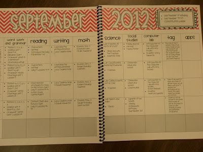 Make curriculum calendars to map out what to teach when - box at the top to tell holidays & events