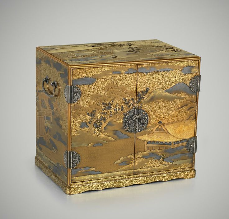 A Japanese gold lacquer cabinet with interior drawers with a view of Imperial palace garden, Circa 1830, Late Edo period Cabinet with the First Warbler