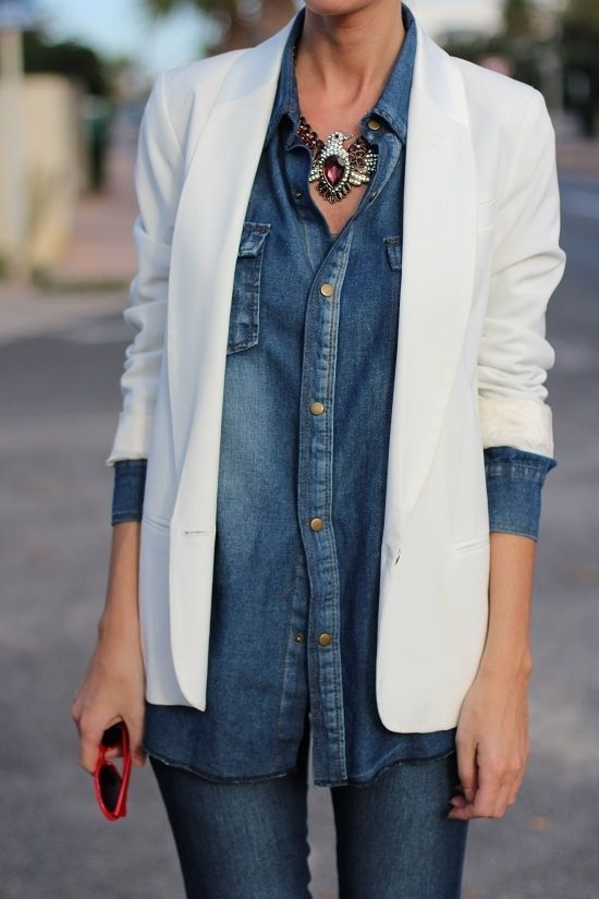 A white blazer and blue skinny jeans are perfect for both running errands and a night out.  Shop this look for $51:  http://lookastic.com/women/looks/white-blazer-and-blue-shirt-and-gold-statement-necklace-and-blue-skinny-jeans/1220  — White Blazer  — Blue Denim Shirt  — Gold Necklace  — Blue Skinny Jeans