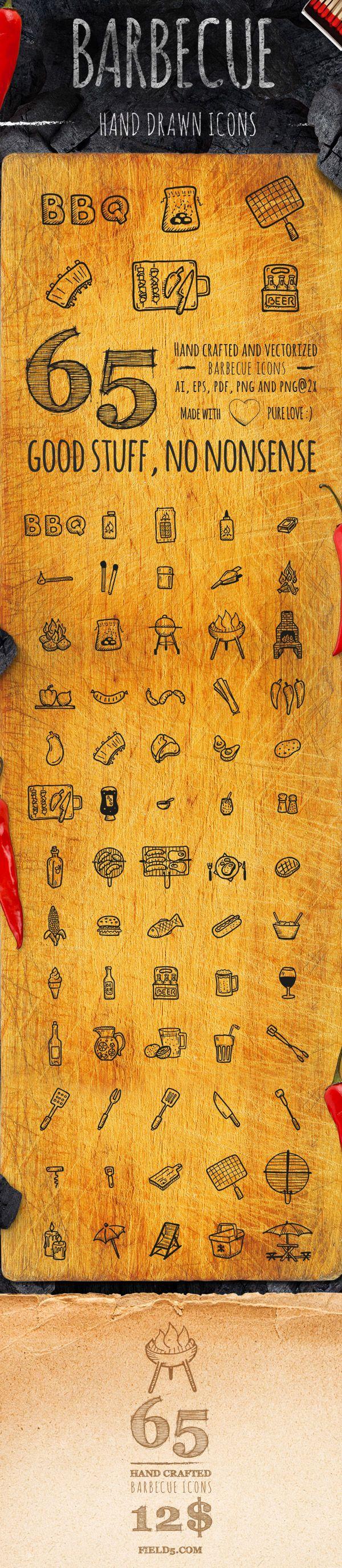 BBQ - 65 Hand-drawn icons by Agata Kuczmińska, via Behance