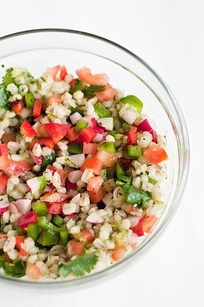 Теплый салат из перловки