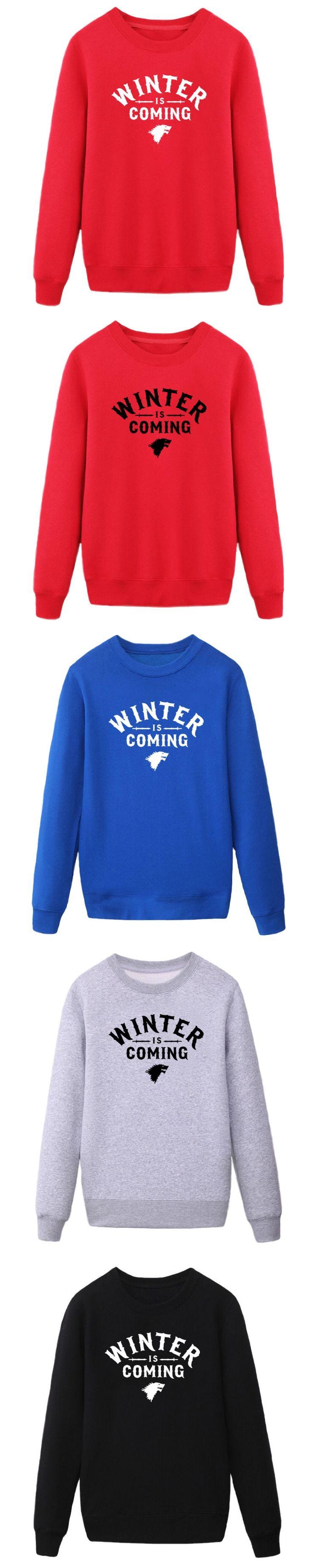 Free Shipping Hip Hop Game of Thrones Winter Is Coming Casual Men Printed Mens sweatshirt hoodies Wholesale Man Clothing