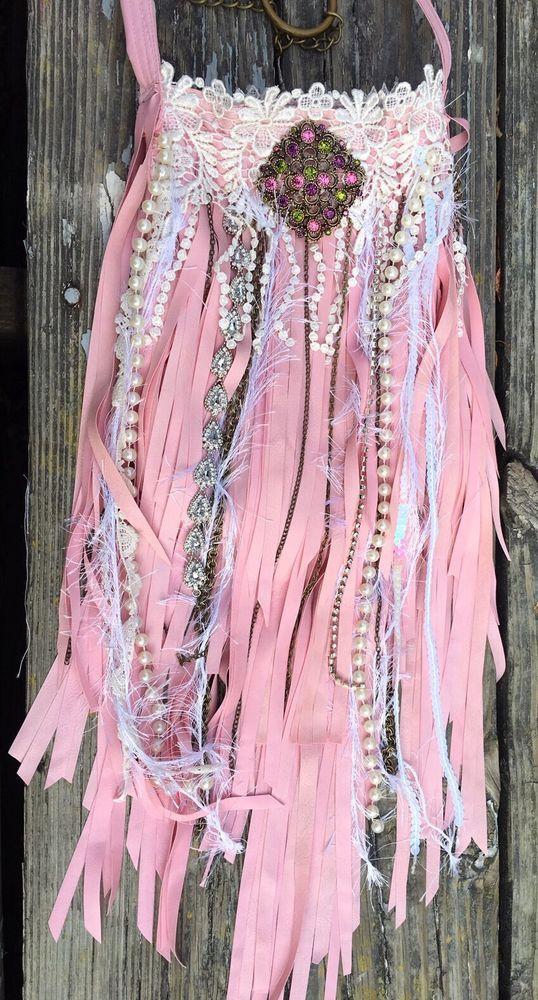 Handmade Pink Vegan Leather Fringe Bag Gypsy Lace Boho Hobo Hippie Purse B.Joy  | eBay
