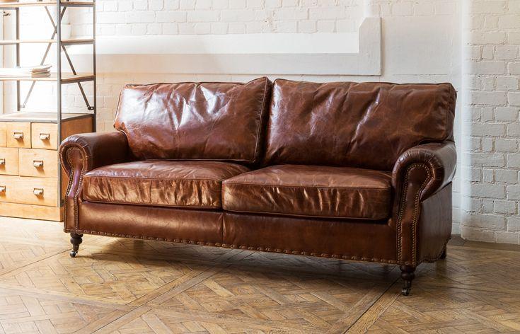 Stamford 3 Seater Leather Sofa In Vintage Cigar Premium Top