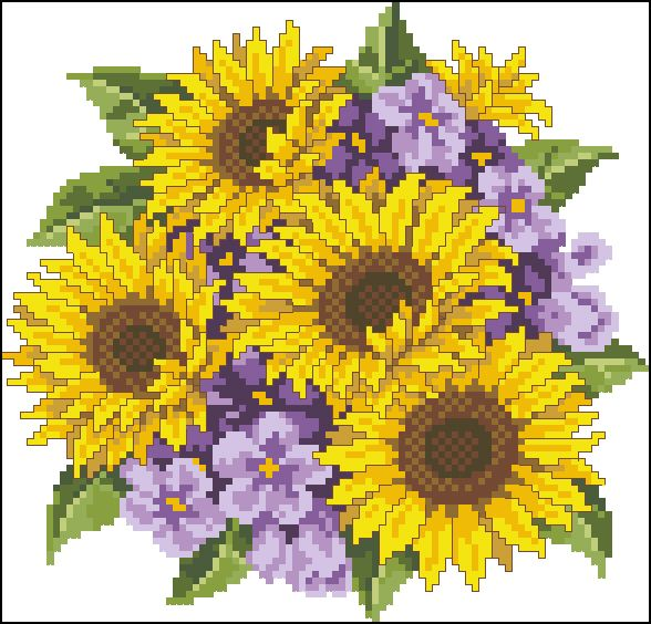 "Cross-stitch design ""Sunflowers"" Pattern Name: Sunflowers Company: Copyright: Fabric: Aida 14, White 98w X 94h Stitches Size(s): 14 Count,   17.78w X 17.05h cm 16 Count,   15.56w X 14.92h cm 18 Count,   13.83w X 13.26h cm 22 Count,   11.31w X 10.85h cm   Download free: See also  kids cross-stitch  design Try our  free cross-stitch pattrens Jul …"