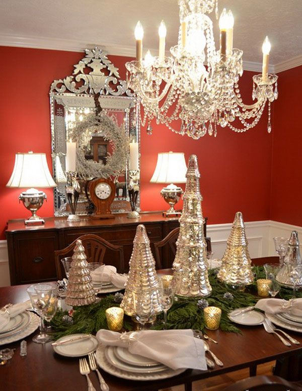 Christmas Table with Mercury Glass Tree Centerpieces: Table Settings, Dining Rooms, Holiday Ideas, Christmas Decoration, Mercury Glass, Christmas Ideas, Christmas Tablescapes