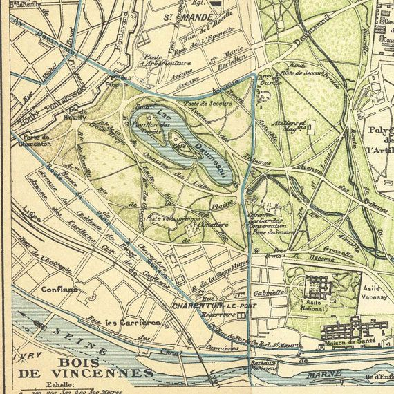 Bois de Vincennes Paris Vintage City Plan 1924  90 Years Old Paris Map Park Forest