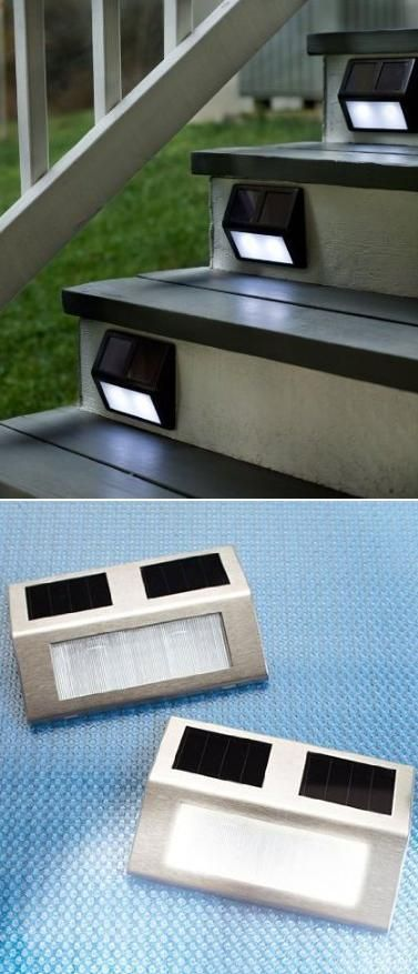 Solar Wedge Lights For Stairways, lighted stairway, outdoor lighting, gardening, landscaping - Outdoor Ideas!