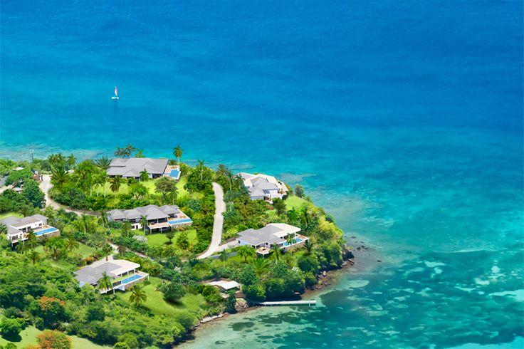 Laluna Villa Estate Aerial View. 7 luxury villas facing the Caribbean Sea