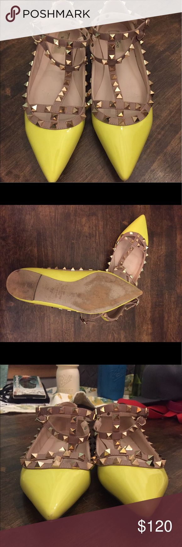 Rockstud Bright Yellow Flats Bright yellow sexy rockstud flats. Only worn once, but love them! Just don't wear this color much anymore. Perfect condition except for tiny scuff on the tips of the pointed toes. Comes with box. Price reflects, but really good quality! Valentino Shoes Flats & Loafers