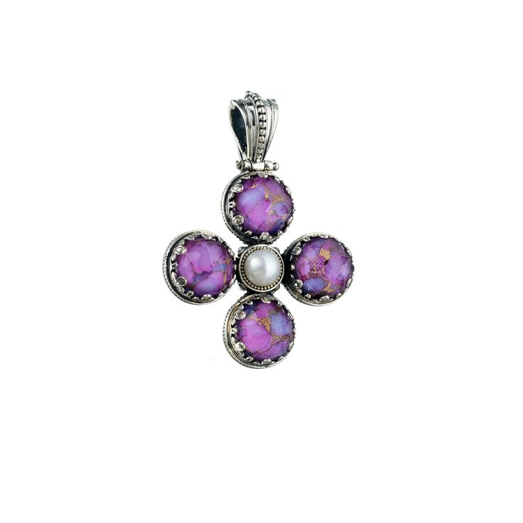 Gerochristo Jewelry Aegean colors collection Sterling silver Purple copper doublet stones and freshwater pearl