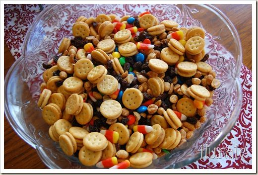 Festive Fall Snack Mix - EASY!  1 Box of Ritz Mini Peanut Butter Sandwich Crackers; 1 Small Box of Sunmaid Raisins; 1 Bag of Candy Corn; 1 Bag of Plain M&M's; 1 Jar of Lightly Salted Dry Roasted Peanuts