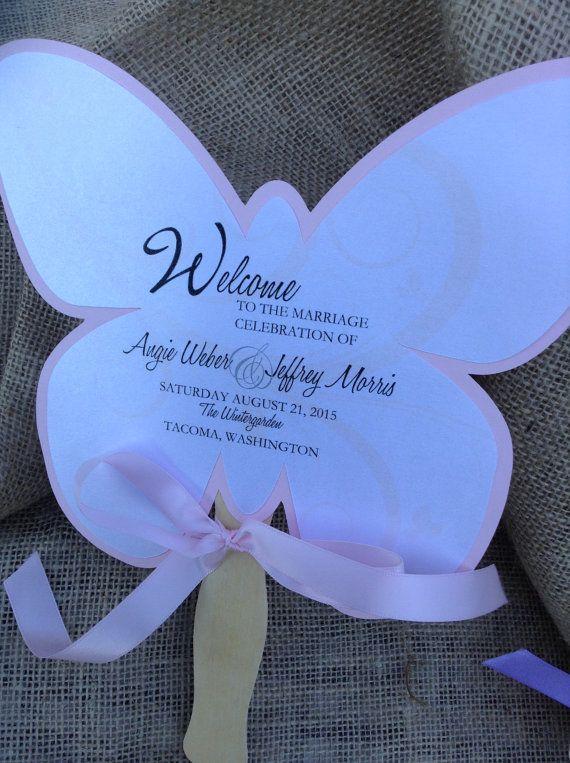 Butterfly Shaped Wedding Fan Favor Program by uniquelyyourspd, $3.85