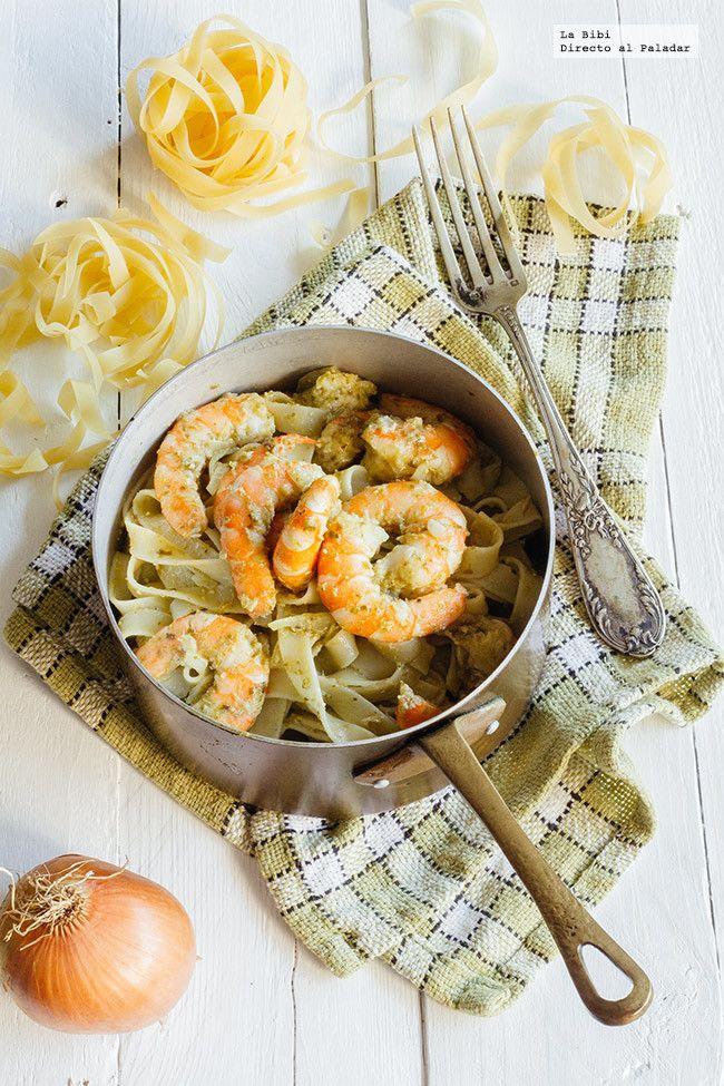 Pasta con camarones al pesto. Receta