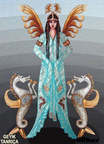 DENİZ TANRIÇASI-GEYİK TANRIÇA Göktürklerle ilgili bir mitoloji de, Göktürklerin atalarından birinin, (ki ataları kurttur) bir mağarada, ak geyik kılığına giren bir deniz tanrıçası ile ilişkisi olduğu anlatılır. Göktürkler nesillerinin kurttan geldiğini söylemekle beraber efsanelerinde dişi geyikte rol oynar. Dişi geyik bir ilahedir ve vücudundaki lekeler yıldız işaretleri olarak görülür. Dişi geyik eski Hun anlatılarında yol gösterici rolü oynar.