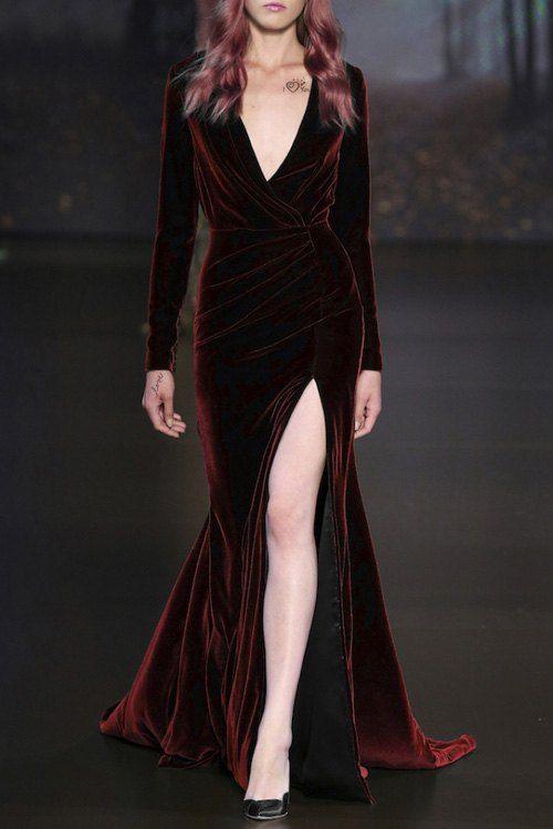 Long Sleeve High Slit Velvet Prom Dress