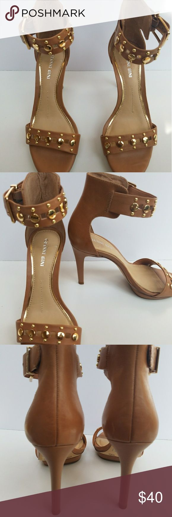 Gianni Bini Tan Shswnell Studded Ankle-Strap Dress Sandals. Perfect to dress up or just go caaual. Gianni Bini Shoes Heels