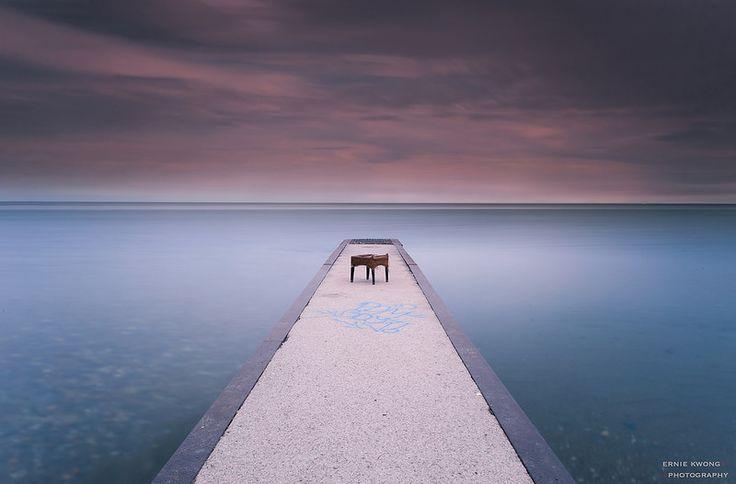 Near empty pier at The Beaches, Toronto, ON Canada.