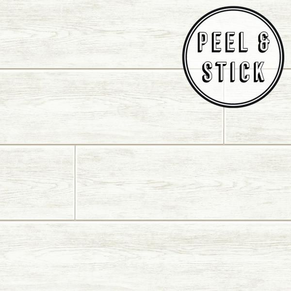 Transform Transform Wood Plank White Vinyl Peelable Roll Covers 30 75 Sq Ft 108310 The Home Depot Peel And Stick Wallpaper Peel And Stick Shiplap White Wood Paneling