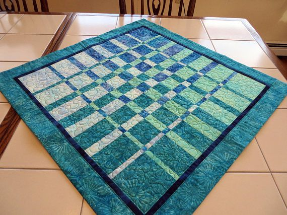 Teal Batik Quilted Table Topper centerpiece convergence
