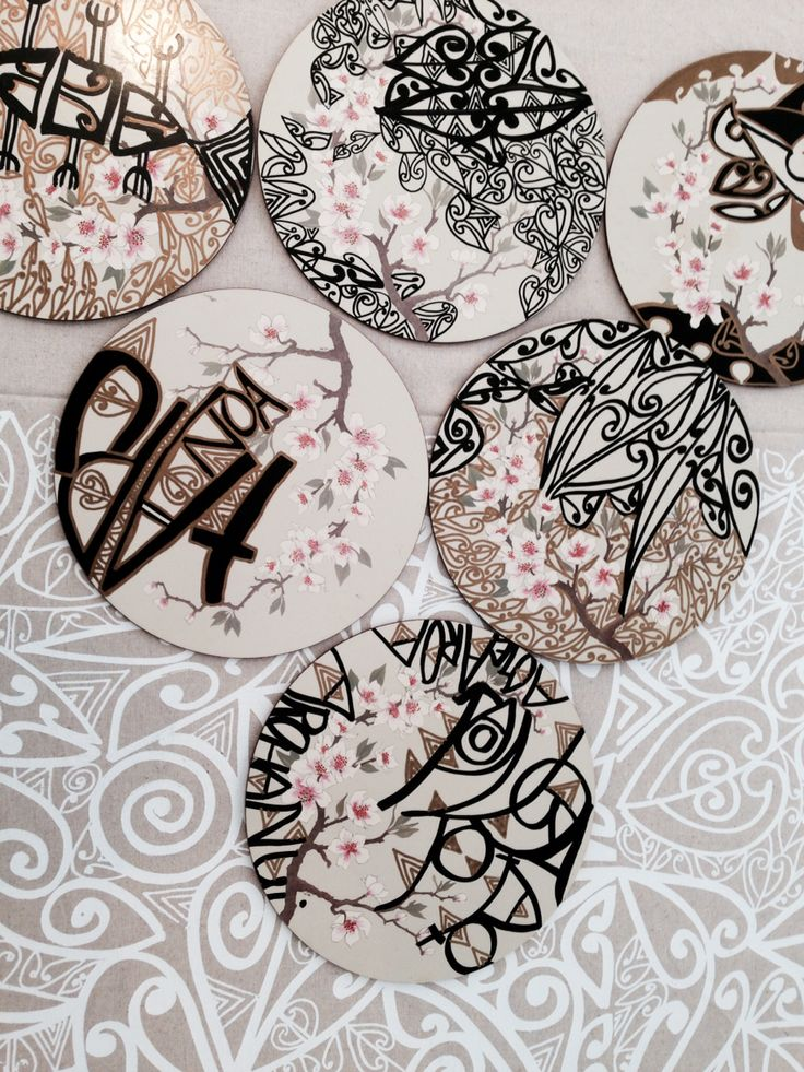Plate coasters by Tracey Tawhiao.