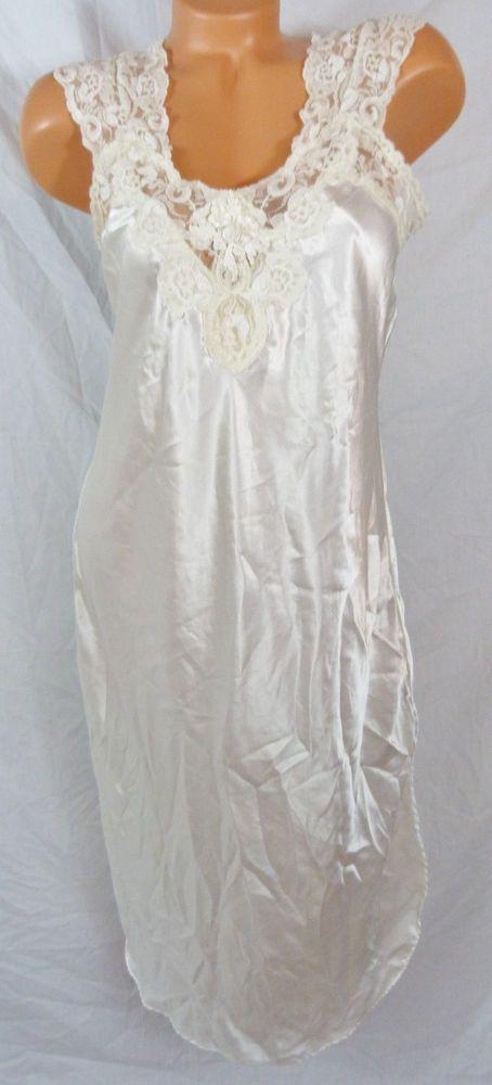 Womens Adonna White Medium Nightgown Lingerie Bridal Lingerie Lace Satin Floral #Adonna #Gowns
