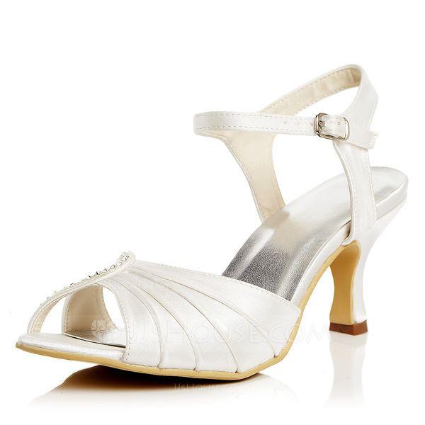 Women's Satin Spool Heel Pumps Sandals With Buckle (047052662)