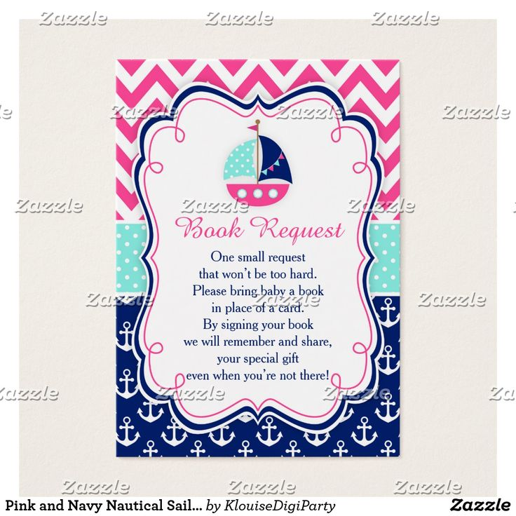 Pink and Navy Nautical Sailboat Baby Book Request Business Card