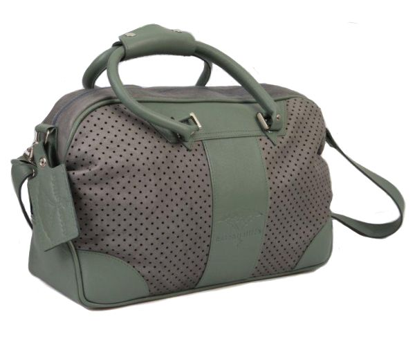 Sports Bag in Grey Crust Leather and Green. #leather #luggage #sports