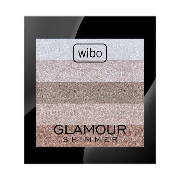 Glamour Shimmer  Wypiekany rozświetlacz do twarzy, skomponowany z idealnie dobranych do siebie odcieni. Jego formuła zapewnia wyjątkową trwałość i komfortową aplikację. Nadaje bezbarwny blask twarzy. Tworzy świetliste wykończenie makijażu, nadając blask i świeżość. Niezbędny przy modelowaniu twarzy, dzięki niemu podkreślisz kości policzkowe, powiększysz optycznie usta lub usuniesz zmęczenie.