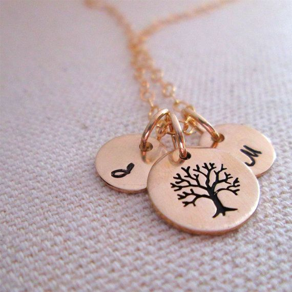 Family Tree Necklace  hand stamped necklace  by JLynnCreations