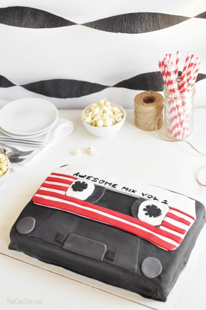 DIY How to Make a Disney Guardians of the Galaxy Cassette Tape Cake #birthday