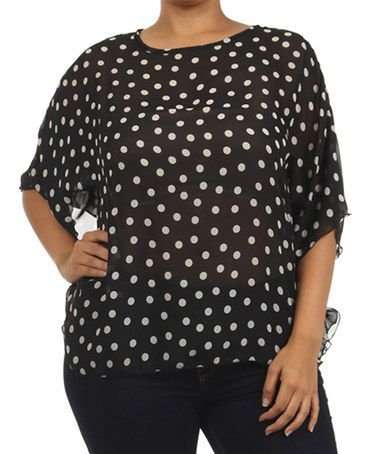 Loving this Black & White Polka Dot Sheer Dolman Top - Plus on #zulily! #zulilyfinds