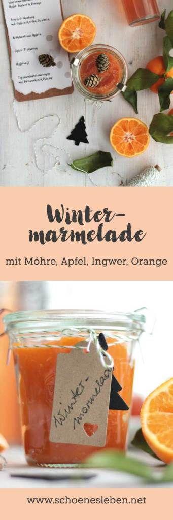 Wintermarmelade mit Möhre, Apfel, Orange und Ingwer I www.schoenesleben.net I #wintermarmelade #geschenkeausderküche #regionaleprodukte