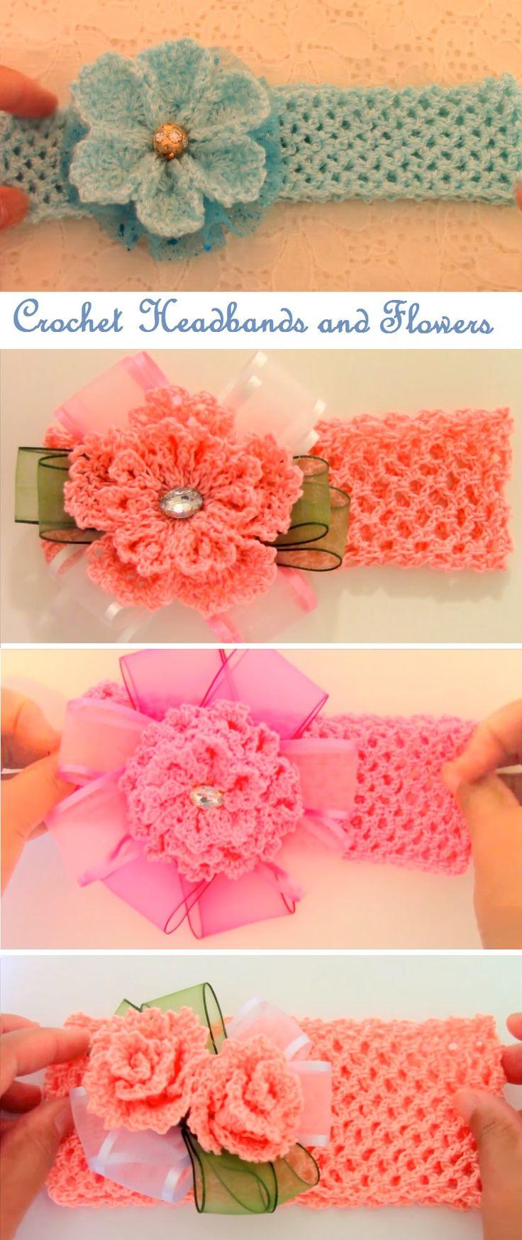 Crochet Headbands with Beautiful Flowers
