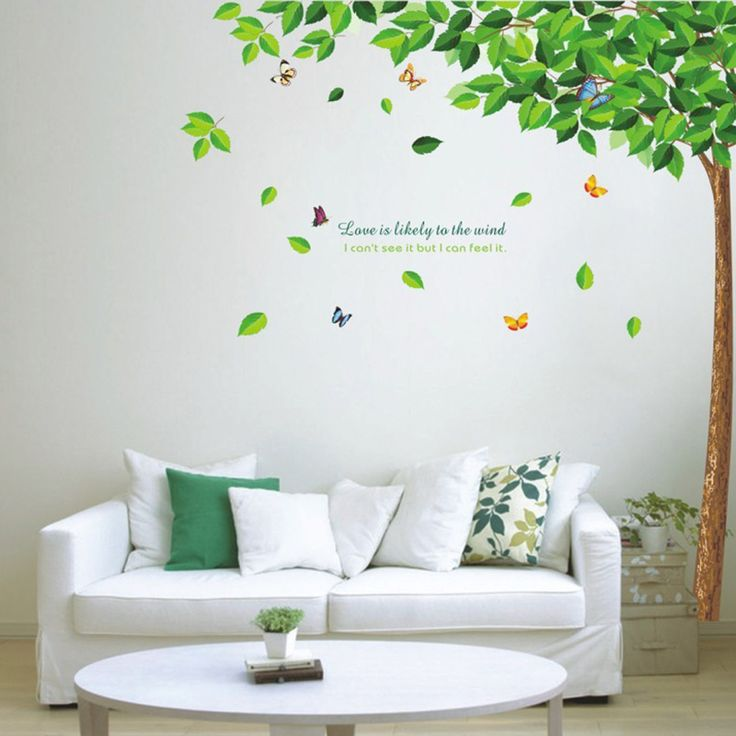 Green Tree and Butterflies Wall Sticker //Price: $11.33 & FREE Shipping //     #housedecoration