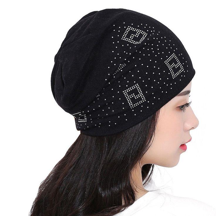 Beanie Hats For Women Beanies Autumn And Winter Turban Diamond Skullies Hip-hop #KISSBAOBEI #SkulliesBeanies