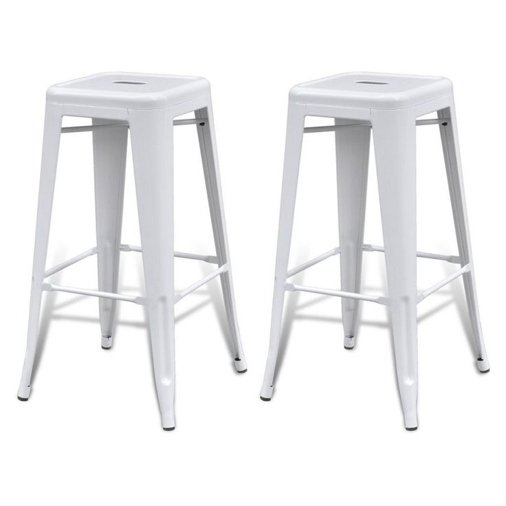 Vintage White Bar Stools 2 Metal Square Breakfast High Chairs Retro Kitchen Cafe