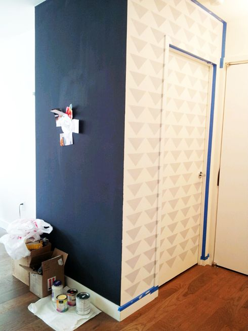 Foyer design by Ada Gonzalez - interior design installation started! Triangle Stencil AND Magnetized Wall