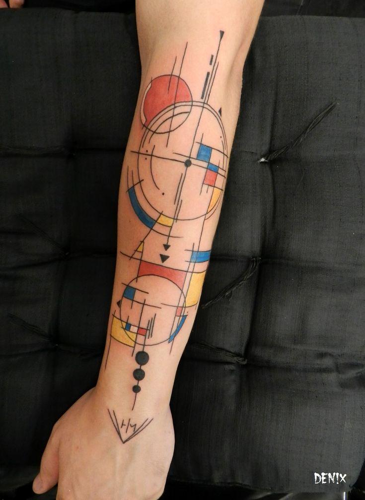 Tattoo em Rick Mantovani   (Art: Mondrian + Kandisnky)