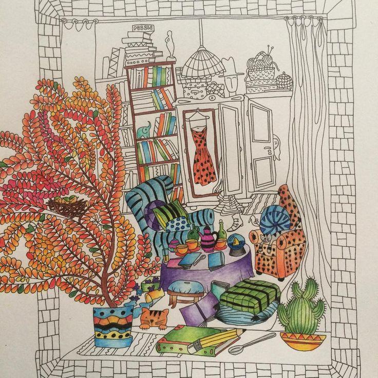 """""""Pierwszy obrazek z #wyspy już sie tworzy  #anitagraboś #sztukakolorowania #kolorowanie #kolorowaniedladorosłych #kolorowanieuzależnia #colouring…"""""""