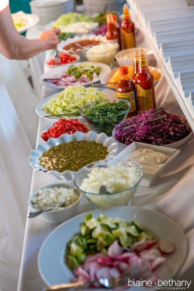 A salsa spread: (or a salad bar! Definitely would be a hit!) | 23 Brilliant Wedding Bars From Couples Who Dared To Dream