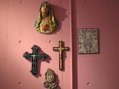 Catholic Kitsch.Religious Wall, Jesus, Christian Kitsch, Catholic Kitsch, Pink, Religious Imagery, Blueberries, Random Religious, Religious Iconography