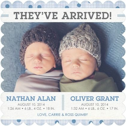 The joy of twins! Delicate Duo - Twins Photo Birth Announcements - Magnolia Press - Lapis Blue