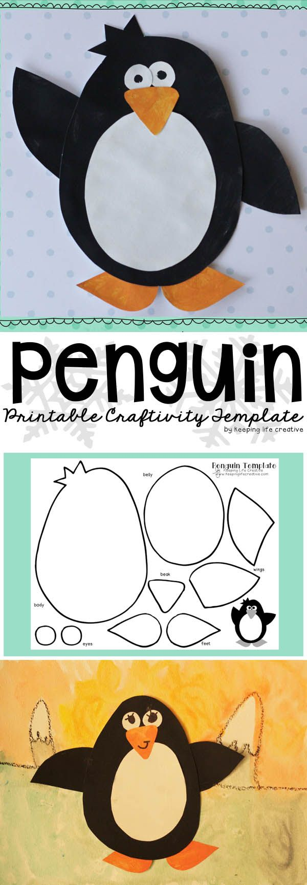 """Try the """"blubber mitten"""" experiment to answer the question, """"Do penguins get cold?"""" and print this penguin template for an adorable winter-themed art project."""