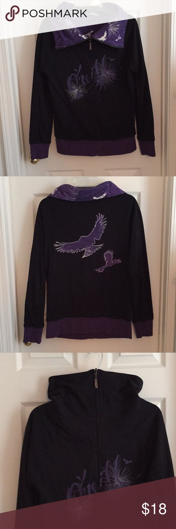 Reversible black and purple knit jacket Reversible black and purple knit jacket with high zip up collar. Pockets on both sides. Purple side has white bird motif. Worn once, condition is new. 100% cotton. Comfortable and great for fall O'Neill Tops Sweatshirts & Hoodies