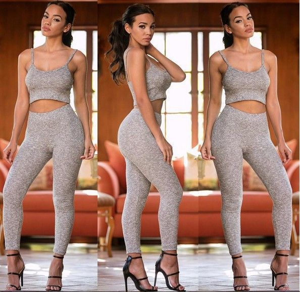 2016 New styles Two pieces outfits Sexy Rompers For Women Sleeveless Bodycon Women Long Pants Jumpsuits and Rompers Crop Top