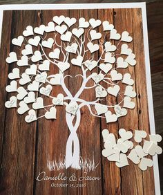 Guestbook Tree, Guest Book Weeding Tree, Wood Tree Guestbook alternative with cut out hearts, signature tree, shower tree, guestbook print