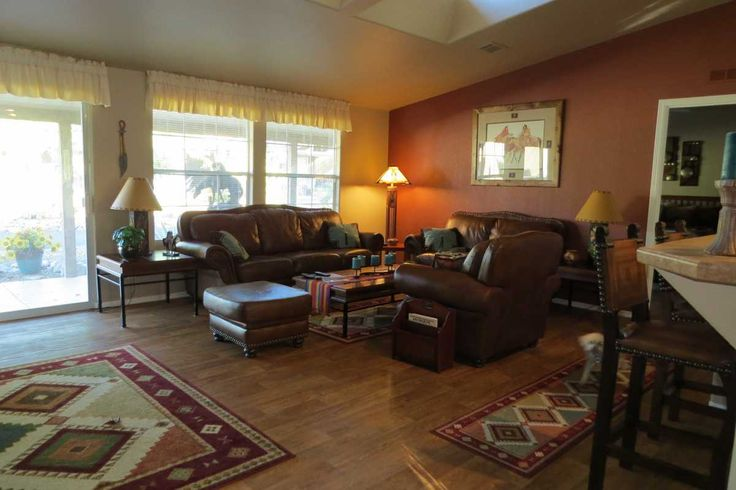 Gorgeous Southwestern Colors In This Manufactured Home Living Room